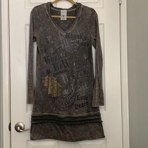 Grey Hoodie Rhinestone Jeweled Tunic Top